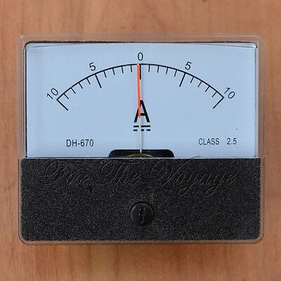 -10A to 0 to +10A DC Ammeter Amp Panel Meter Analog Internal Shunt 10-0-10 A