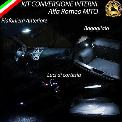 Kit Full Led Interni Alfa Mito Anteriore + Luci Cortesia + Bagagliaio 6000K