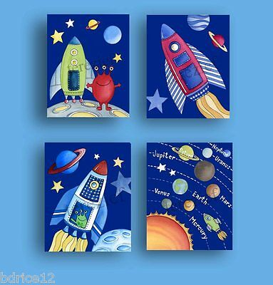 Rocket Space Alien Nursery Baby Bedding Rocketship Children Kids Boy Wall Art