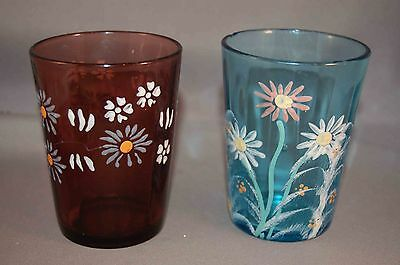 Hand Enameled Victorian Glass Pair of Tumblers! Light Blue And One Amethyst!
