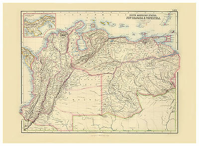 South America Panama Colombia Ecuador Venezuela illustrated map Fullarton ca1872