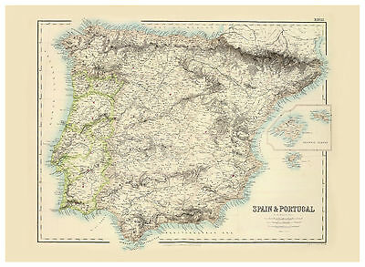 Iberian Peninsula Spain Portugal Andorra illustrated map Fullarton ca.1872