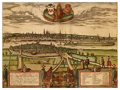 Maastricht Meuse Limburg Netherlands bird's-eye view map Braun Hogenberg ca.1575