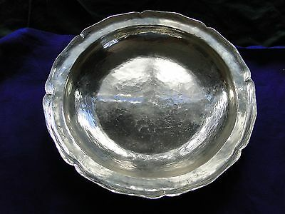 South American Dish, Sterling Silver, 1900, Large Size, Peru, Marked. Rustic
