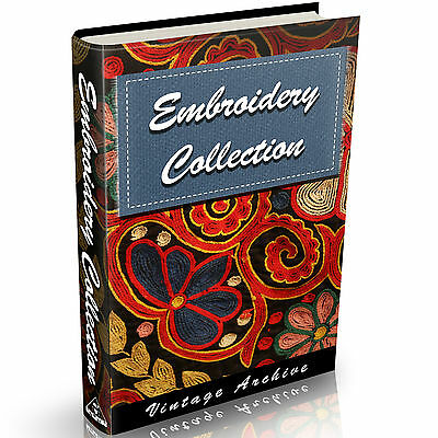 Embroidery Books 34 old Books on DVD Needlework Patterns Stitches Sewing Vintage