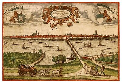 Kampen Overijssel Netherlands bird's-eye view map Braun Hogenberg ca.1575