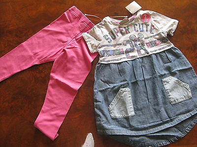 Bnwt NEXT Gorgeous Mouse Chambray Tunic Dress & Pink Leggings Set 2-3-4-5-6 yrs