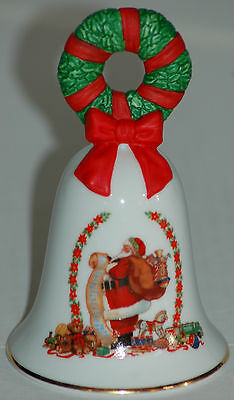 Vintage 1995 Avon Collectible Holiday Christmas Bell ~ Porcelain in EC