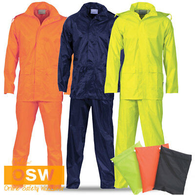 Unisex Mens Ladies Full Rain Wear Jacket & Pants Waterproof Yellow/orange/navy