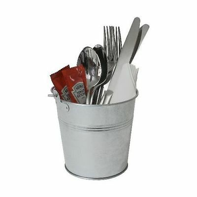 12 STEEL BUCKETS GALVANISED FOR CUTLERY HOLDER SAUCE POTS TABLE TIDY 80cl