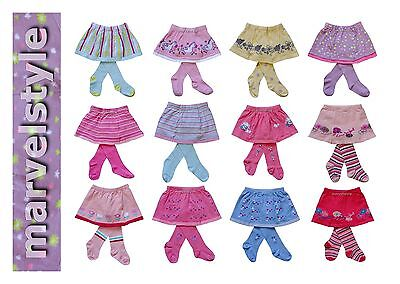 Baby Girls Cotton Soft Tights with Skirt 2-in-1 size 92 to 122 cm age 2-7 years