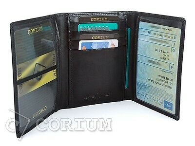 Document Card Holder Cover Wallet Pouch ID Case Natural Leather Black CORIUM