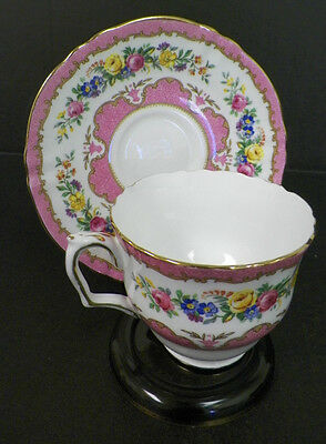Crown Staffordshire Fine Bone China Cup And Saucer Pink Floral Gold Trim Vtg