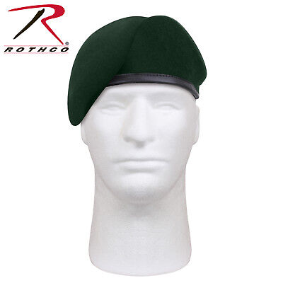 Green Military Wool Beret Inspection Ready Pre-Shaved Badge US Army JROTC 4959