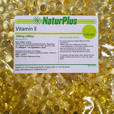Vitamin E 400iu 180 Capsules - UK Made - NaturPlus