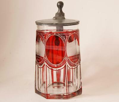 Antique Bohemian Glass Beer Stein Red Ruby Cut and Engraved Baden-Baden c.1860s