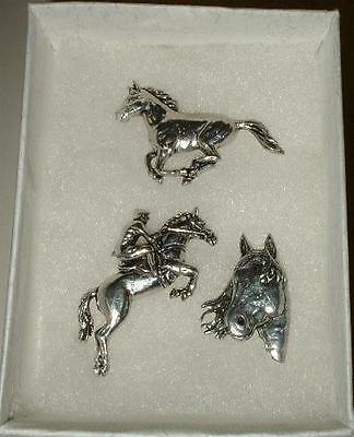 Horse Pin Badge Gift Set in Fine English Pewter, Hand made