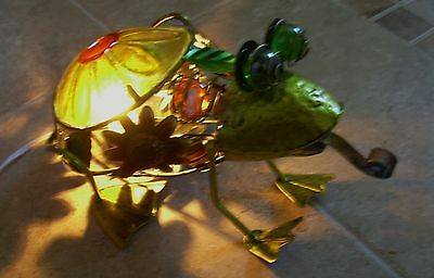 Metal & Glass Frog Night Light - Floor or Counter Style Green Frog with Light