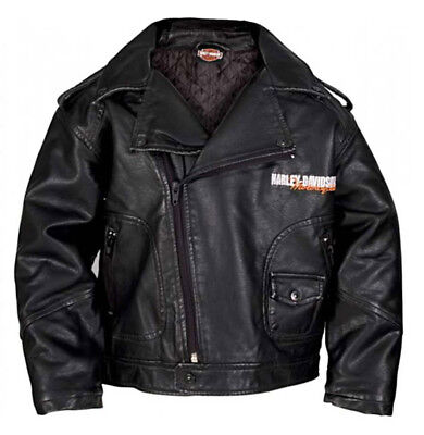 Harley-Davidson Baby Boys' Upwing Eagle Biker Pleather Jacket Black 0366074