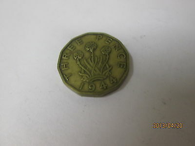 1 THREE PENCE Brass Coin - - - George VI - Dated 1944.. old rare collector coinn
