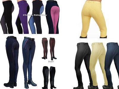 LADIES RIDING JODHPURS VARIOUS COLOURS & DESIGNS plain, check, 2 tone & denim