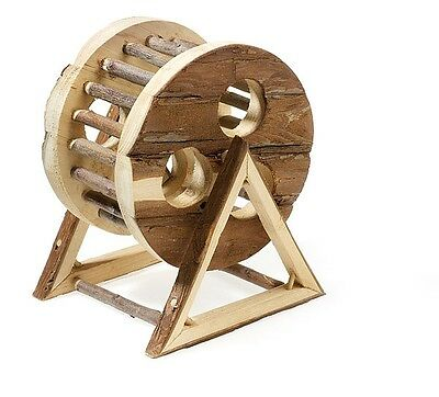 "Natural Wooden Hamster Exercise Wheel Free Standing Toy 18cm (7"")"