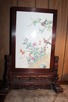 Vintage Chinese hand painted porcelain screen