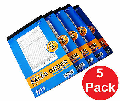 5 x Sales Order Record Book 2 Part 50 Sets Duplicate Receipt Copy w/Carbon