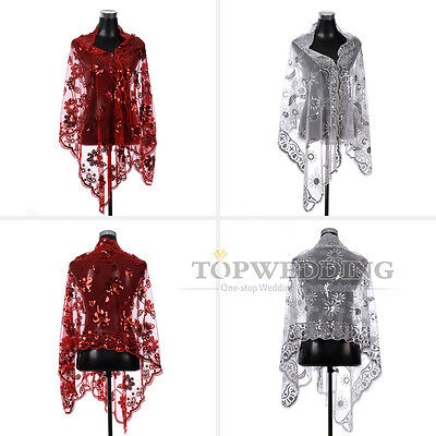 White/Red Embroidery and Sequin Tulle Bridal Shawl Wedding Jacket Bolero Coats