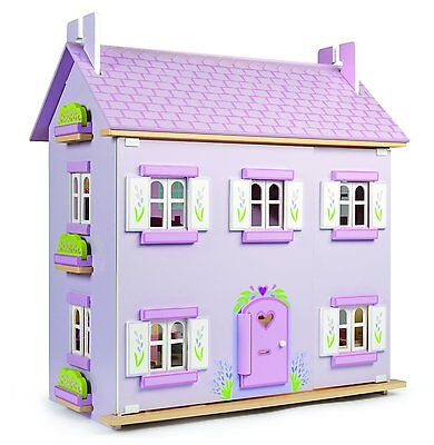 Le Toy Van Lavender Dolls House with Sugar Plum Furniture and Dolls