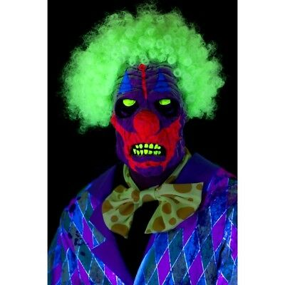 Unisex Men's Women's UV Black Light Clown Mask Halloween Fancy Dress Stag Hen Do