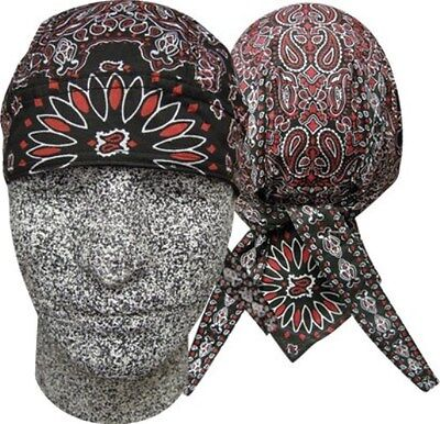 Black Red Combo Paisley Headwrap Bandanna Sweatband Durag Capsmith Free Shipping