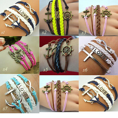 Wholesale Jewelry fashion Leather Cute Infinity Charm Bracelet Silver lots Style