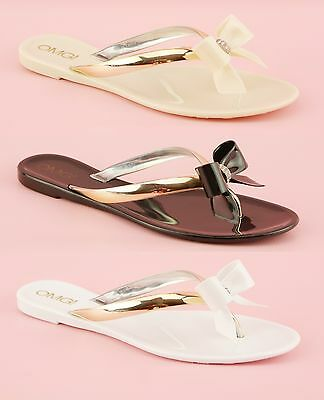 Ladies Womens Flat Summer Flip Flop Jelly Thong Bow Tie Toe Post Sandals Shoes