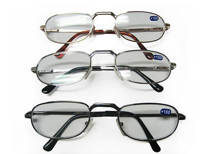 3 6 12 pairs Unisex Metal Spring Loaded Reading Glasses +1 +1.5 +2 +2.5 +3 +3.5