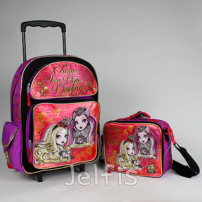 """Ever After High Large Rolling Backpack and Lunch Box Set - Destiny 16"""" Girls Bag"""