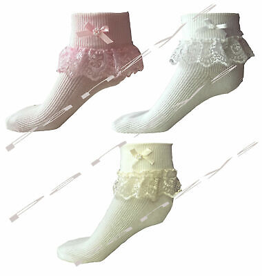 Girls Frilly Lace Socks Christening Wedding Ivory Pink White 000 - 4-6  NEW
