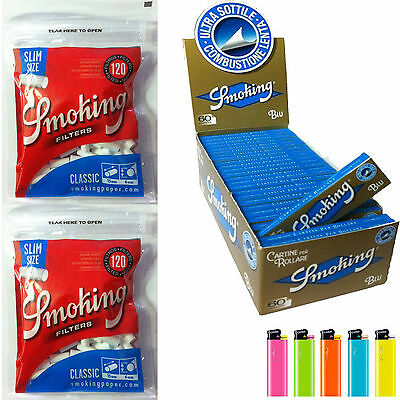 3000 Cartine Smoking Blu CORTE 1 Box 50 Libretti + 3000 Filtri Smoking Slim 6mm