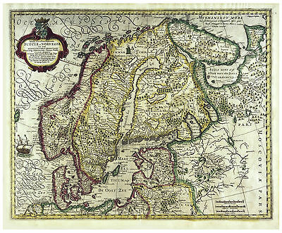 Scandinavia Sweden Stockholm Norway Denmark illustrated map Hondius ca.1633