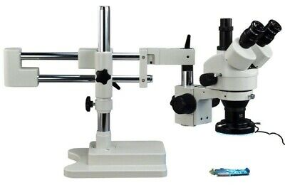 3.5X-90X Dual-bar Boom Stand Stereo Zoom 144 LED Light Trinocular Microscope