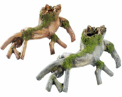Tree Roots with Moss Aquarium Ornament Vivarium Wood Decoration in 2 Colours