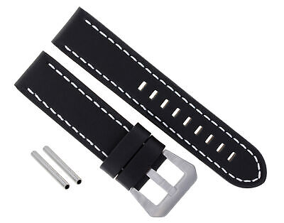Big 24Mm Cow Leather Watch Band Strap For Pam 44Mm Panerai Black Ws #15