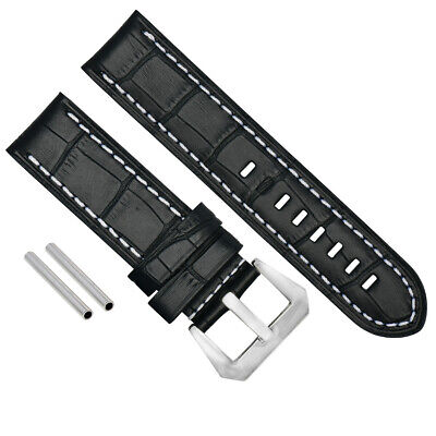 BIG 24MM LEATHER WATCH BAND PAM STRAP FOR 44mm PANERAI BLACK WS BUCKLE POLISH 14
