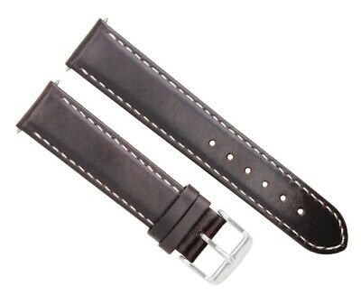 24Mm Leather Watch Smooth Strap Band For Panerai Luminor Marina Dark Brown Ws #4