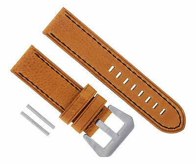 24Mm Cow Leather Strap Watch Band Strap For Pam 44Mm Panerai Tan Black Stitch#17