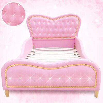 Pink Kids Girls Boys Standard Single PU Leather Diamond Upholstered Bed