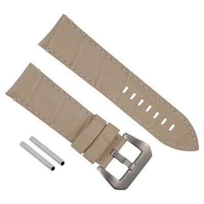 24Mm Genuine Leather Watch Band Strap For Pam 44Mm Panerai Beige Ws #9