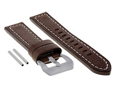 24Mm Pam Leather Watch Band Strap For Panerai Marina Radiomir Gmt D/Brown Ws #10