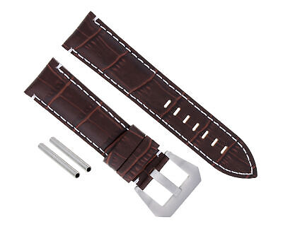 24Mm Leather Watch Band Strap For Pam 44Mm Panerai Marina Luminor Gmt Brown Ws#9