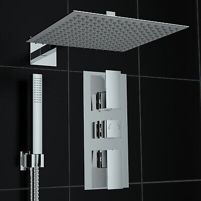 Concealed 2 Way Square Wall 300mm Thermostatic Mixer Shower UK Made